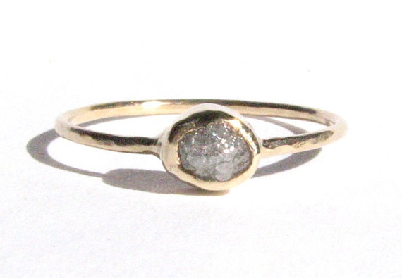 Wedding - Rough Diamond Ring - 14k Solid Gold Ring -  Engagement Ring - Thin Gold Ring - Diamond Gold Ring -Gray Diamond -Bridal ring -READY TO SHIP!.