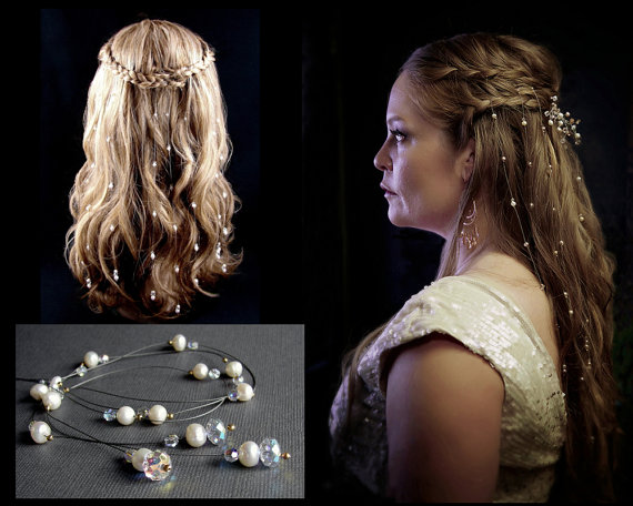 Mariage - 9 EXTRA Sparkly Swarovski Crystal Hair Extensions Bohemian Vines Pearl Strands GoT Reign Renaissance Medieval Wedding Hairpiece Accessories