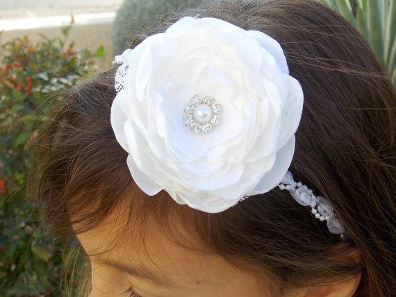 Wedding Christening Baptism White Headband Flower Bow
