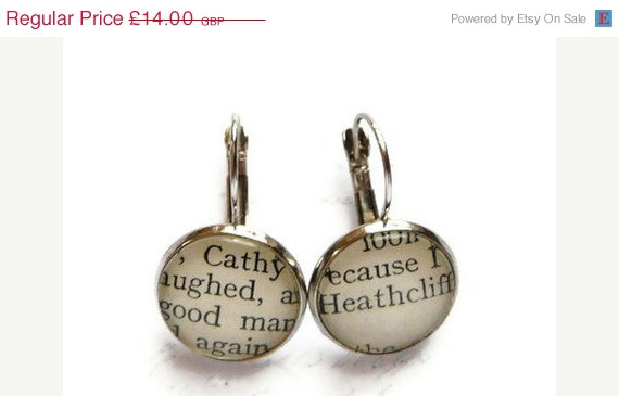 Свадьба - ON SALE Wuthering Heights Cathy & Heathcliff Earrings, Jewelry, Recycled, Books, Silver