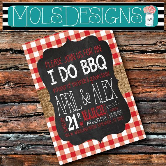 زفاف - Any Color BURLAP Red Gingham Country Graduation I Do BBQ Barbecue Chalkboard Surprise Birthday Baby Bridal Shower Rehearsal Invitation