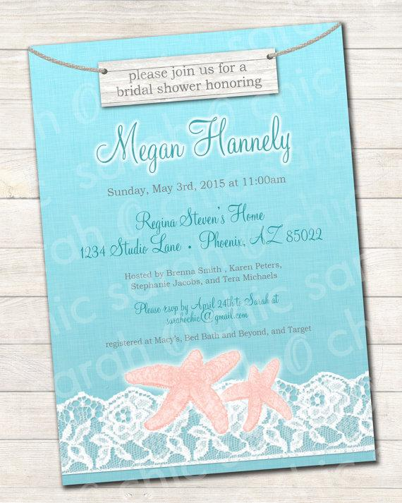 زفاف - Printable Beach Bridal Shower Invitation - beach bridal shower, rustic beach bridal shower, beach wedding invitation, starfish invitation