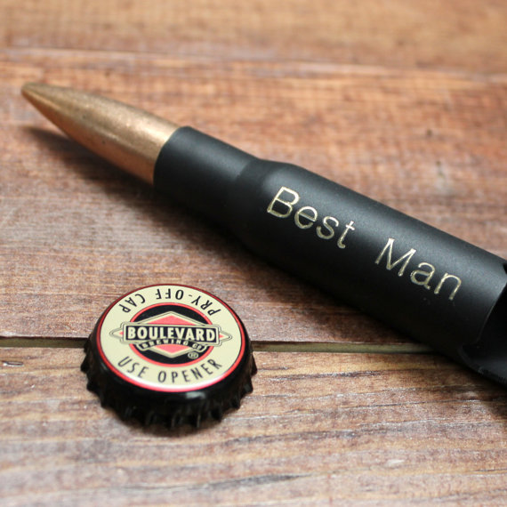 Свадьба - Groomsmen Gift: 50 Caliber Bullet Bottle Opener in Black Matte - Personalized Groomsmen Gift, Gifts for Men, Birthday, Him, Dad, Christmas