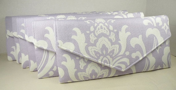 Mariage - Bridesmaid Clutches SET of 6 Envelope Clutches-Wedding/Bridesmaid Gift--Wisteria-Lavendar & Off-White--OZBORNE Damask--10% Discount