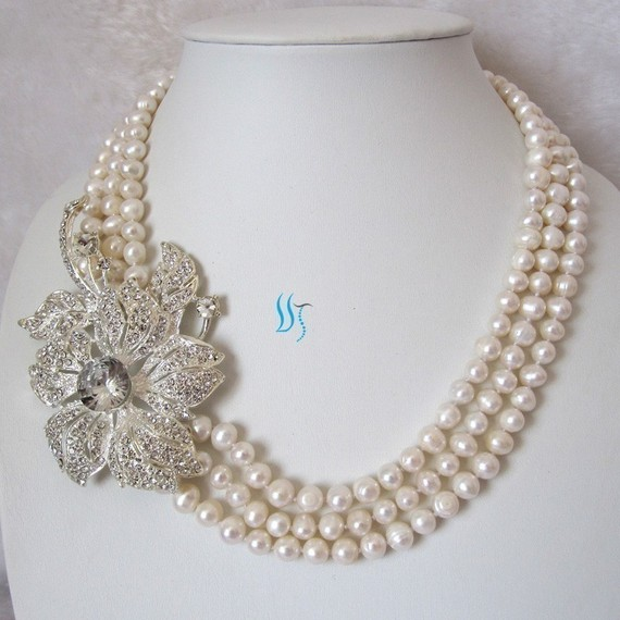 Mariage - Pearl Necklace, Pearl Bridal Necklace - 20-23 inches 3 Row White Pearl Necklace with Big Flower - Free shipping