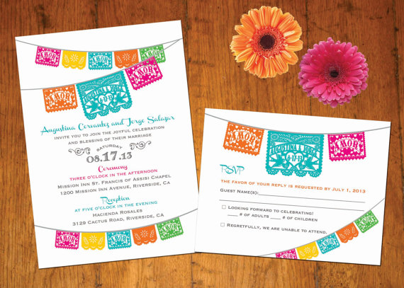 زفاف - Invitation Love Birds Papel Picado banner Fiesta Wedding, Engagement, Shower -  I design you print
