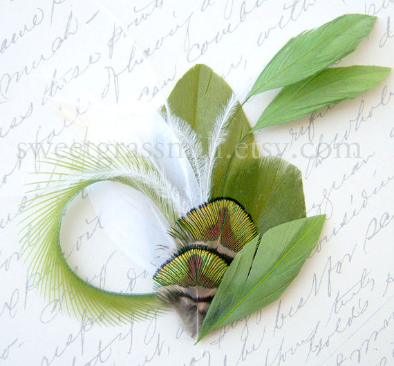 Mariage - Feather Fascinator - MOSS KISS - Green Peacock & Moss Feather Clip