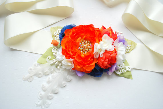 Mariage - orange blue  flower sash, weddings accessories, bridal flower satin sash, maternity belt, bridesmaids, photo prop, hair comb, headpiece