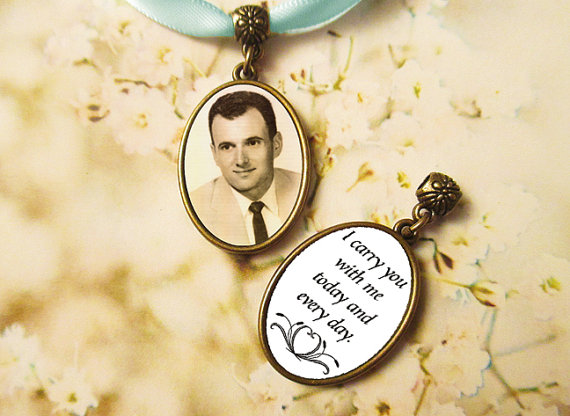 Mariage - Double Sided Memorial Bouquet Photo Charm  CUSTOM Bronze Oval Wedding Bridal Keepsake 2 Two Sided with pearl or rhinestone dangle