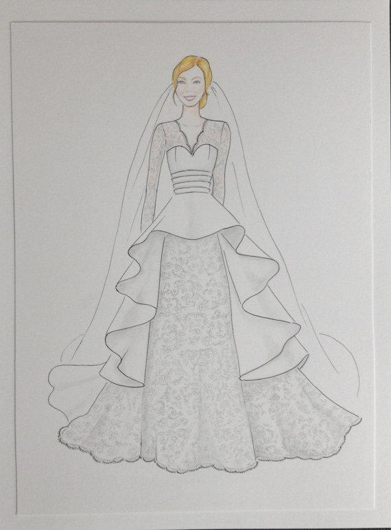 Mariage - Custom bride portrait, bride with veil original portrait, custom bride drawing, wedding anniversary gift,  bride in wedding gown sketch