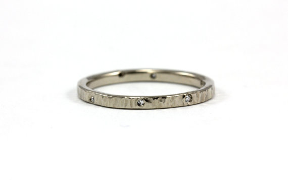 Wedding - Organic Hammered Diamond Ring Band - Wedding Band Anniversary Engagement Promise Ring - 14k Palladium White Gold, Yellow Gold, Rose Gold