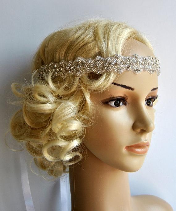 Свадьба - Rhinestone Headband, Wedding Headband, Crystal ribbon tie on Headband, Wedding Headpiece, Halo Bridal Headpiece, 1920s Flapper headband