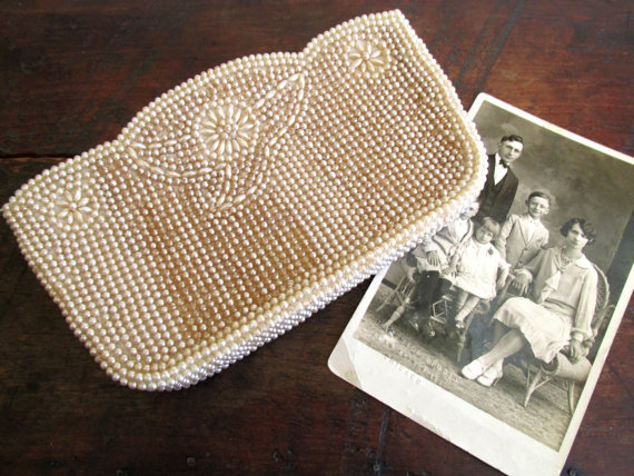 Mariage - Vintage Beaded Clutch Wedding Purse Pearl Evening Bag White Pearl Clutch Made in Japan Flower Design
