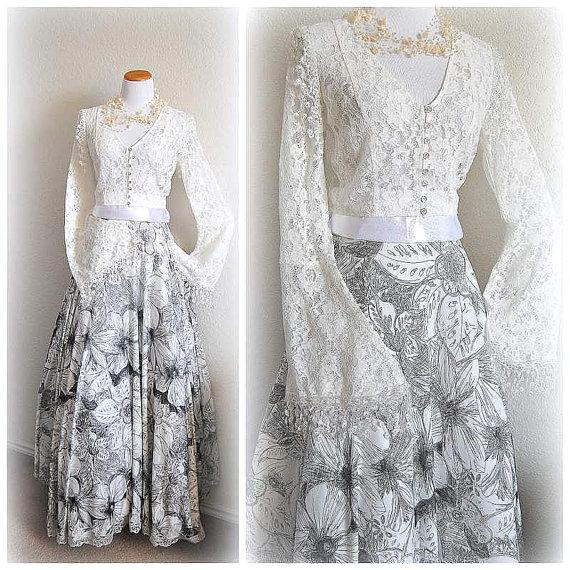 Свадьба - Watercolor Bohemian Wedding Dress MADE TO ORDER Bridal Gown Victorian Simple Ballgown Rehearsal Dinner Dress Floral Gypsy Long Sleeves