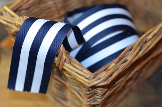 Свадьба - navy and white grosgrain striped ribbon
