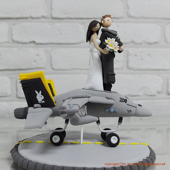 Свадьба - F14 fighter pilot combat plane custom wedding cake topper decoration