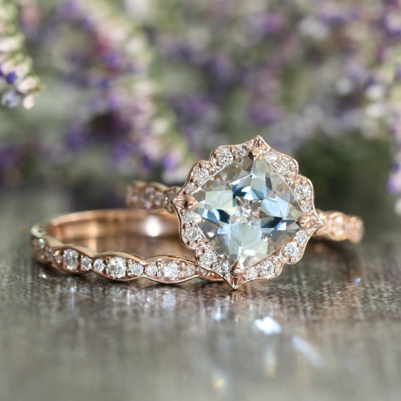 Свадьба - Vintage Floral Aquamarine Engagement Ring and Scalloped Diamond Wedding Band Bridal Set in 14k Rose Gold 8x8mm Cushion Aquamarine Ring