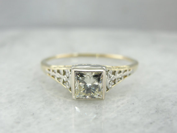 Mariage - Art Nouveau Vintage Engagement Ring with Square Cut Diamond 30RQ4T-N