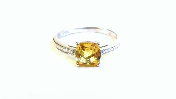 Hochzeit - Brazilian Citrine Platinum Vermeil Ring, Size 8, 925 sterling, silver beading, Anniversary ring, november stone, budget engagement