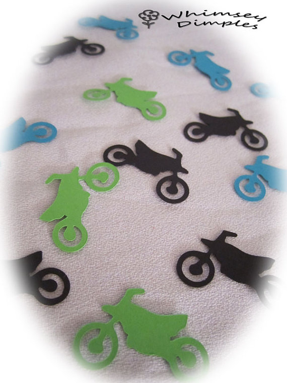 زفاف - Dirt Bike Confetti, Motorbike, 100 piece Motor Bike Die Cut, Motocross, Color Options