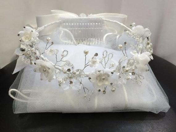 زفاف - First Communion Bridal Pageant Flower Girl Tiara Crown White Veil Wedding