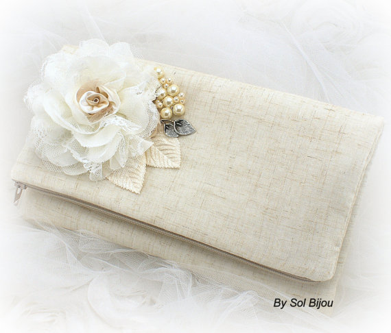 Hochzeit - Bridal Clutch, Maid of Honor, Shabby Chic, Rustic, Garden Wedding in Ivory, Cream and Silver with Linen, Lace and Pearls- Vintage Inspired