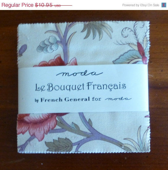 Mariage - FLOWER SALE - Cotton FAbric, Quilt Fabric, Le Bouquet Francais, Moda,Charm Pack, 13660PP, Fast Shipping, F142