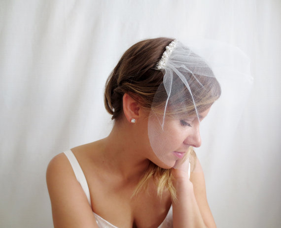زفاف - Ivory birdcage veil, bridal birdcage veil, hair comb, bridal headpiece, hair accessories, wedding veil, wedding hair comb, bridal veil