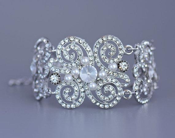 Mariage - Art Deco Pave Crystal Bridal Bracelet, Wedding Cuff,  Wedding Jewelry, Bridal Jewelry, Bridesmaid Bracelet SIAN