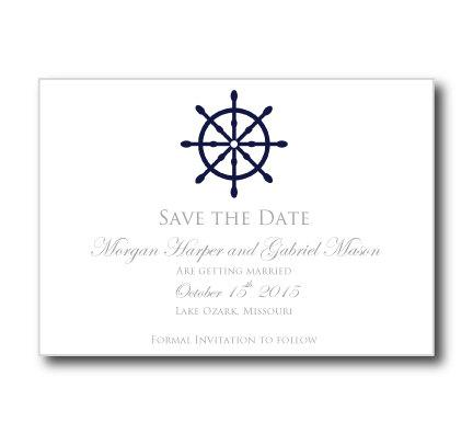 "Nautical Save The Date Card Template-""Nautical Wheel"" Printable"