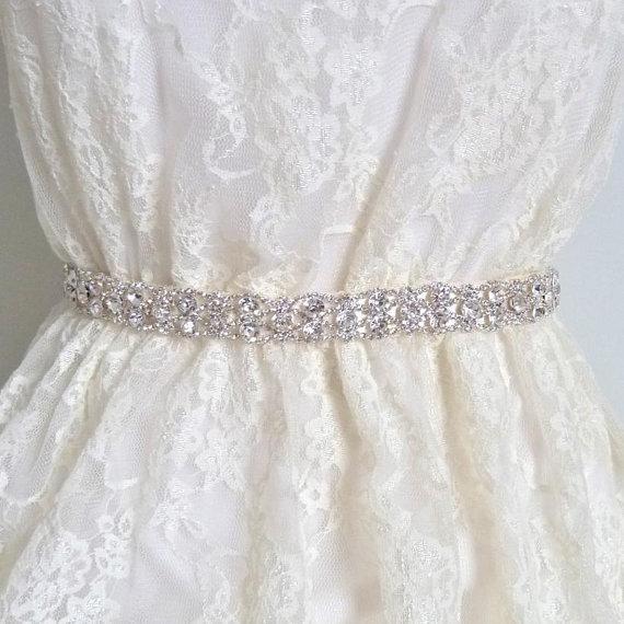 Свадьба - Thin Bridal crystal belt, rhinestone sash, bridal sash, bridal belt, wedding belt, wedding sash, crystal bridal belt