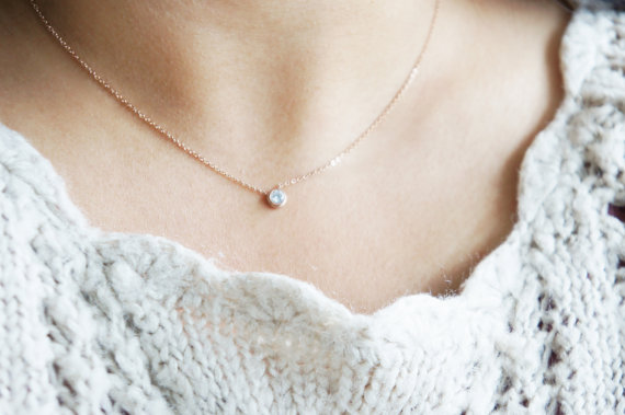 Crystal Necklace ROSE GOLD Simple Delicate Jewelry CZ Diamond Solitaire Gift For Her Sensitive Skin Valentines Day Mothers Birthday