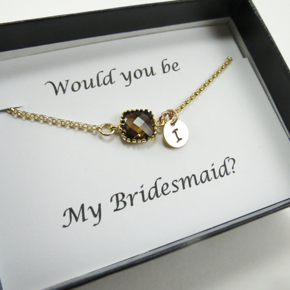 Mariage - Bridesmaids Personalize Gift, Smoky Quartz Color, Gold Bracelet, Initial, Weddings, Bridesmaids Bracelets, Bridal Gift, Initial Jewelry Gift