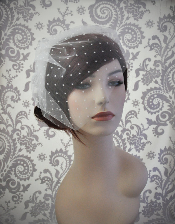Mariage - Ready to Ship, Ivory Bird cage Veil, Polka Dot Veil, Tulle Birdcage Veil with polka dots, retro ivory veil bridal accessories - 110BC