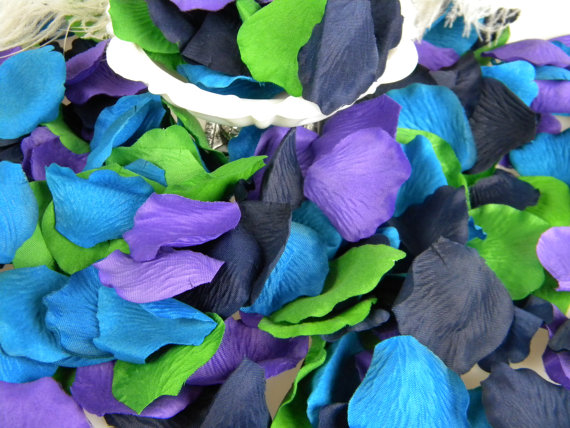 500 peacock color rose petals artifical petals bridal shower wedding decoration flower girl petals table scatter peacock wedding