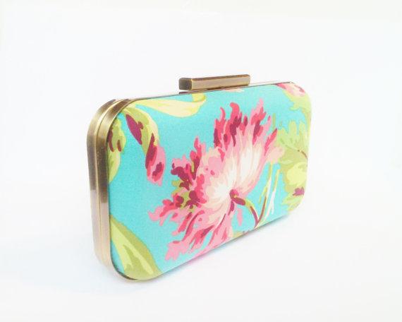 Mariage - bridesmaids gifts, bridesmaid clutch, floral clutch purse, tropical weddings, destination wedding gift, turquoise clutches, tuquoise clutch