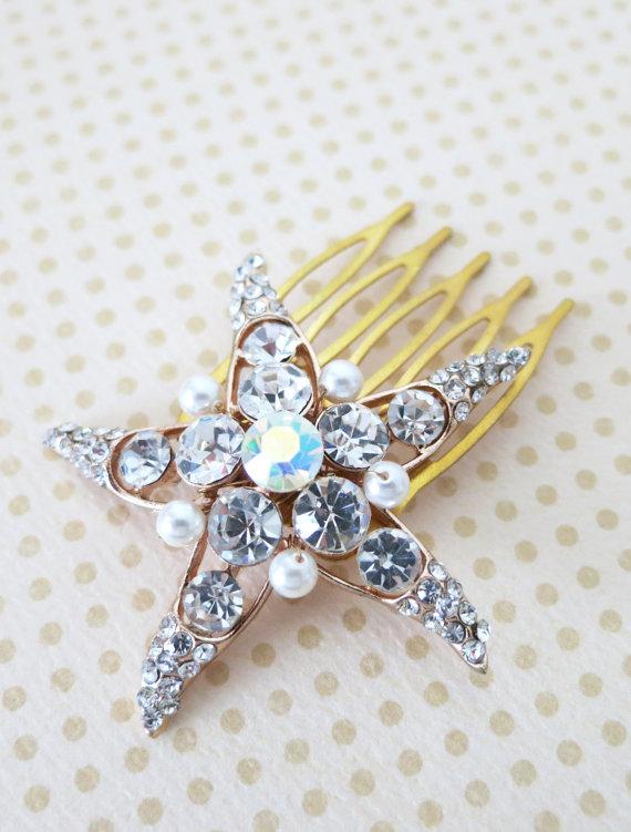 Mariage - Rose Gold Wedding Starfish Hair Comb, Accessories, Rose Gold Bridal Hair Comb, Pink Gold, Crystal, Beach Nautical Weddings Comb - Starfish