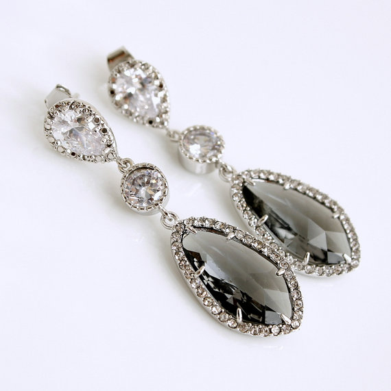 Wedding Jewelry Black Diamond Grey Bridal Earrings Silver Cubic Zirconia Posts With Gl Drops