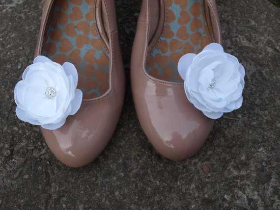 Mariage - White Flower Shoe Clips Set of 2