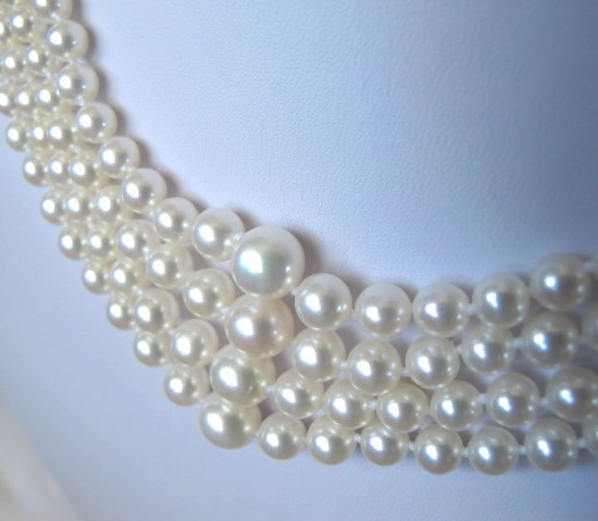 Mariage - Graduated Akoya Sea Pearl Choker Necklace,Bridal Necklace,Four Multi Strand Choker, High Luster Japanese Cultured Pearl Statement Necklace,
