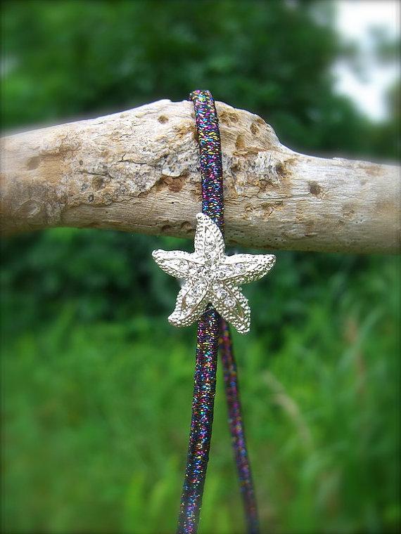 زفاف - Starfish Stretch Headband-RAINBOW SPARKLE-Mermaid Headband, Starfish Headband, Beach Weddings, Mermaids, Nautical Headband