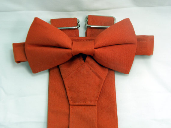 Mariage - Sale: Color Match to Alfred Angelo's Burnt Orange Suspenders and Bow tie set. Free Shipping for 3 or more sets.
