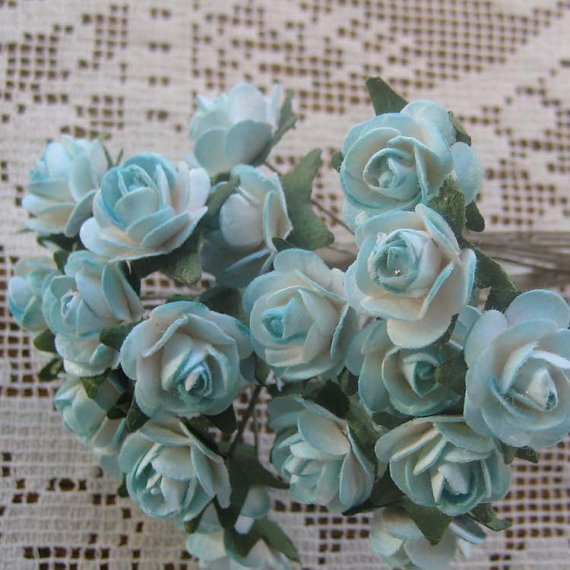 Mariage - 24 Petite Handmade Paper Millinery Roses In Sweet Blue Mix
