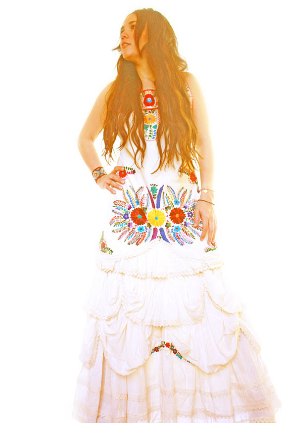 Floral Embroidered Bohemian Mexican Wedding Dress Ruffled Crochet