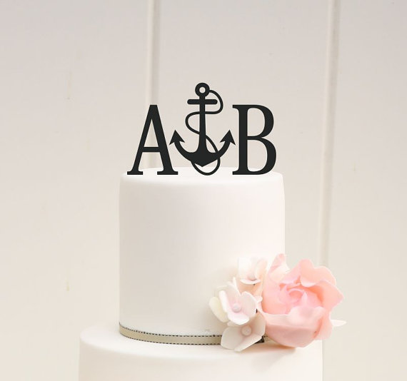 Personalized Anchor With Rope Nautical Monogram Wedding Cake Topper With YOUR Initials 2271700