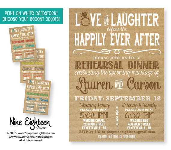 Love And Laughter Rehearsal Dinner Invitation Digital Design: Rehearsal Dinner Invitation. Love And Laughter Before The