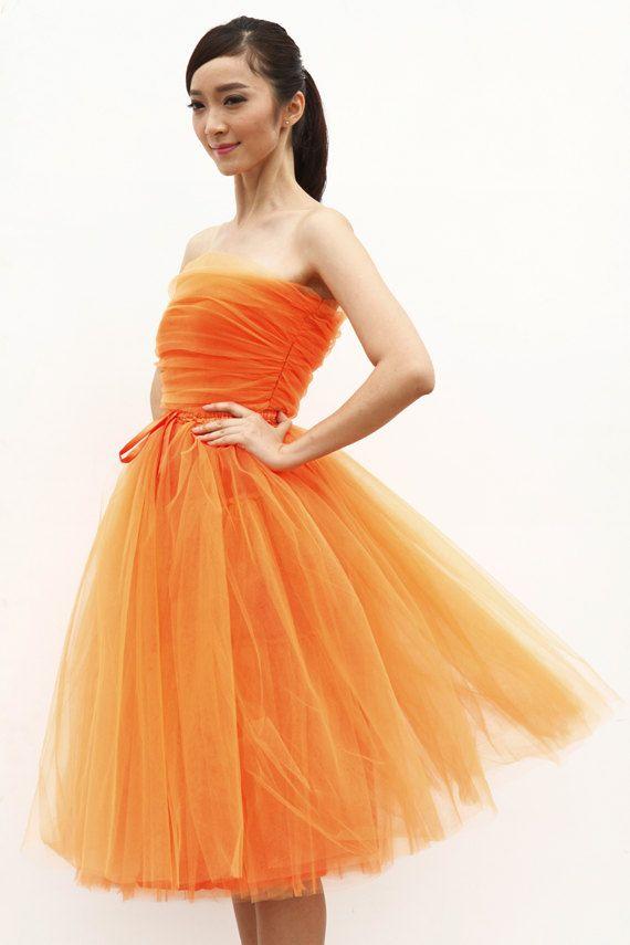 زفاف - Tulle Skirt Tea Length Tutu Skirt Elastic Waist Tulle Tutu Princess Skirt Wedding Skirt In Orange - NC508