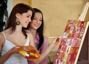 Wedding - Leinwand bemalen 50x50 cm - bedruckt - PORTOFREIES Set inkl. Leinwand, Farben, Pinsel und Mal-Schalen. Hochzeitsgeschenk und Hochzeitsspiel in Einem