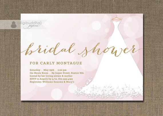 Wedding - Gold Glitter Bridal Shower Invitation Wedding Gown Purple Sparkling Bokeh Lilac Lace Modern FREE PRIORITY SHIPPING or DiY Printable - Carly