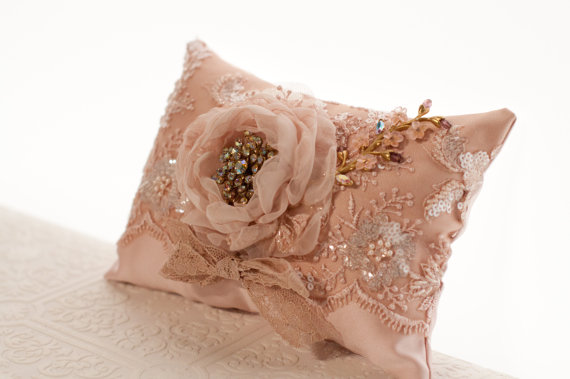 Wedding - Wedding Ring Pillow, vintage style wedding lace ring bearer pillow, blush, dusty pink, gold pink flower